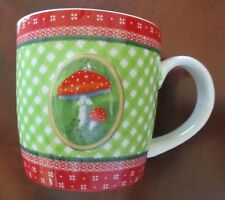 DIE SPIEGELBURG ~ Mug with Raised Mushroom Design on Green Check Pattern ~ Mint