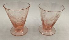 1930's CORNFLOWER HUGHES ETCHED RARE PINK GLASS - pair of 2 Shot glasses