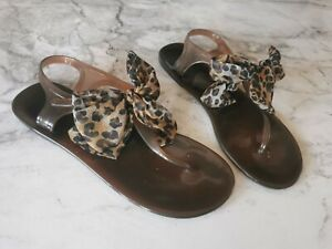 Womens Brown 'Jelly' Sandals with Bow Detail - Size UK 4