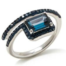 Rarities Carol Brodie London Blue Topaz & Blue Diamond Coil Ring Size 7 HSN $229