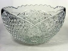 Cut Crystal Punch Bowl Stars Buttons Diamonds Signed