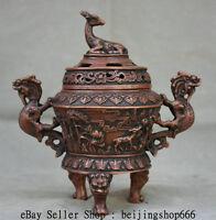 """7"""" Marked Old Chinese Red Bronze Deer Dragon Handle 3 Legs Incense Burner Censer"""