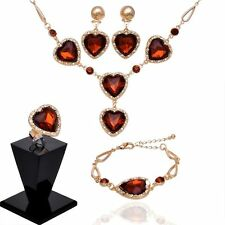 Gold Filled Rhinestone Champagne Topaz Crystal Gem Hearts 4 Piece Jewelry Set