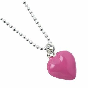 Sterling Silver Ball Bead Necklace with Enamel Pink Heart Charm