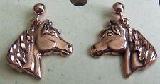 "Copper Earrings 7/8"" L Horse Head Wheeler Healing Arthirits Pain Folklore ce 157"