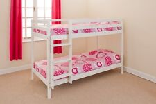 Wooden Bunk Bed kids childrens 2ft6 White or Pine Small Single + 2 Mattresses