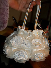 NWT Stunning White Roses, Chiffon and Pearls Wedding Bridal Bag MONI COUTURE