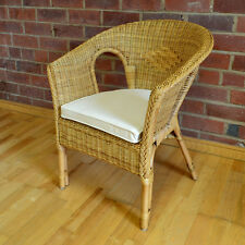 Hand Woven Wicker Rattan Bedroom Chair Seat With Cushion - Honey