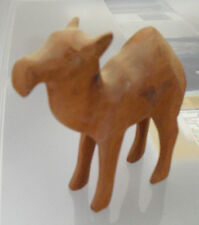 "Vintage Hand Carved Wood Primitive Camel Standing Figurine 3 3/4"" Tall Look"