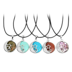 Natural gemstone moon heart necklace genuine leather cord stainless steel clasp