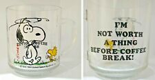 Vintage Glass Snoopy Mug Cup Peanuts 'I'm Not Worth A Thing Before Coffee Break'