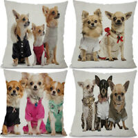 "18"" Chihuahua Print Cotton Linen Home Decoration Cushion Cover Pillow Case"
