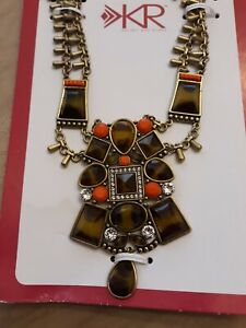 New Silpada SAHARA SUN Necklace w/Swarovski Crystals,Resin & Brass KRN0049
