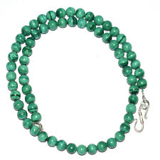 "6.5mm Beads 925 Sterling Silver 17"" Strand Necklaces Green Malachite Gemstone D8"