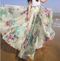 Women Chiffon Floral High Waist Maxi Dress Skater Flared Pleated Long Skirt