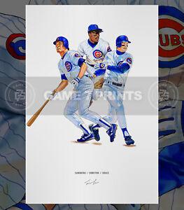 Sandberg Dunston Grace Chicago Cubs 1989 Baseball Illustrated Print Poster Art