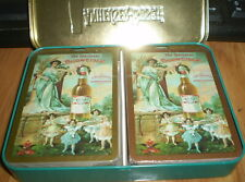 Two packs beer playing cards in original tin - Budweiser