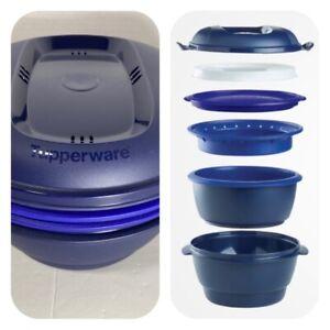 Tupperware Smart Multi Cooker Steamer 4 in 1 Microwave Blue 6 Piece Retail $129