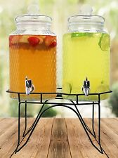 Estilo Hammered Glass Double Beverage Drink Dispenser On Stand With Leak Free 1