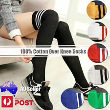 Cotton Blend Machine Washable Striped Stockings for Women