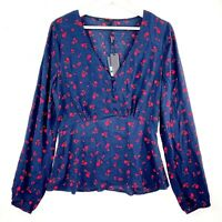 NEW Tokito Women's Size 10 Blue Red Floral Long Sleeve Button V-Neck Blouse Top
