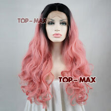 New 22 Inches Long Black Mix Pink Heat Resistant Curly Women Lace Front Hair Wig