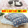 Pet Mat Small Large Paw Print Cat Dog Puppy Fleece Soft Blanket Bed Cushion
