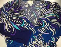 Donna Morgan Womens Dress 12 Wrap Floral Long Sleeve V Neck Black Purple Stretch