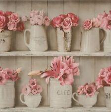 Papiertapete Rasch Blumen Tapete Vasen Vintage beige rosa 307719 (3 /1qm)