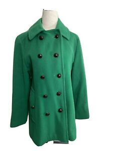 Vintage Made in US Mackintosh Kelly Green Pea Coat Size S/M 100% Wool