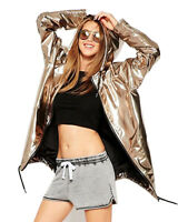 Womens Punk jacket Metallic Bomber Hooded Padded Fashion Ladies Parka Coat S-2XL