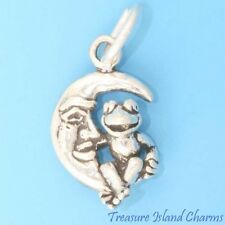 MUPPET SHOW KERMIT FROG ON THE MOON 3D .925 Solid Sterling Silver Charm Pendant