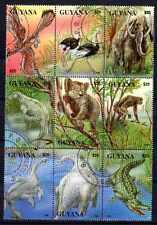 Animaux Préhistoriques Guyana (25) série complète 9 timbres oblitérés