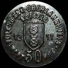 NOTGELD: 50 Pfennig 1917. Funck 391.3. VOLKSBANK OBERLAHNSTEIN / HESSEN-NASSAU.