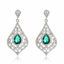 Glamorous White Gold Plated Green Crystal Vintage Inspired Statement Earrings