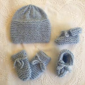 * Premie Baby Beanie, Bootie & Mitten Set * Blue * Aust Hand Knitted *