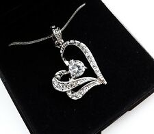 Gift Boxed Xmas Present Silver Crystal Heart Necklace UK Mum Girlfriend Sister