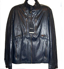 Zegna Sport Men's Navy Dark Blue Water Repellent Soft Leather Jacket Size 2XL