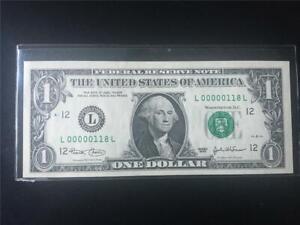 FANCY LOW 3 DIGIT SN# CHGEM 2003 $1 SANFRAN FRN  <<< L 00000 118 L  >>>