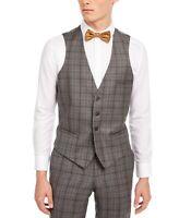 Bar III Mens Suit Vest Gray Size Small S Windowpane Slim Fit Wool $125 167