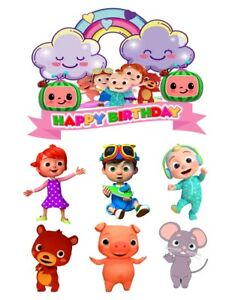 A4 MIXED OR NAME ONLY COCOMELON KIDS FUN EDIBLE FONDANT / WAFER CAKE TOPPER