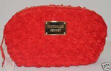 VICTORIA'S SECRET RED ROSE BLOSSOM FLORAL MAKEUP COSMETIC CASE TRAVEL BAG CLUTCH
