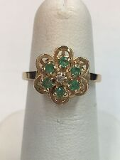 14K Yellow Gold Emerald Cluster Ring  Size 6