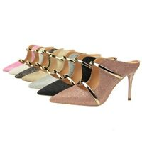 Ladies Mules Shoes Bling Pointed Pumps Stilettos High Heels Sandals US Size s063