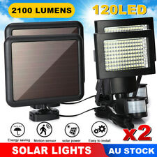 Pair 120 LED Solar Sensor Light Security Powered Motion Detection Flood Lights