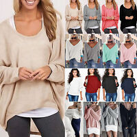 Women's Long Sleeve Sweater Baggy Loose Casual Jumpers Cable Knit Pullover Tops