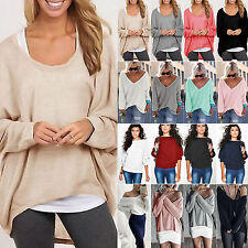 Women Batwing Long Sleeve Knitted Sweater Ladies Loose Jumpers Casual Blouse Top