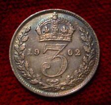 OLD BRITISH STERLING 1902 SILVER 3 PENCE GREAT BRITAIN**BETTER GRADE COIN