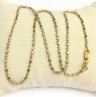 18k Solid Two Tones Gold Diamond Cut Beaded Necklace Chain 4.71 Grams,16 Inches.