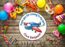 Personalised Thank You For Coming To My Party Stickers Airplane Aeroplane Design